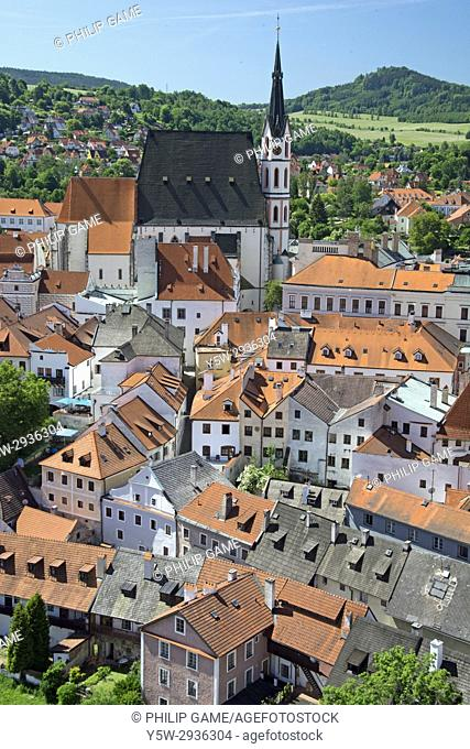 Looking out from the castle over Cesky Krumlov, Czech Republic