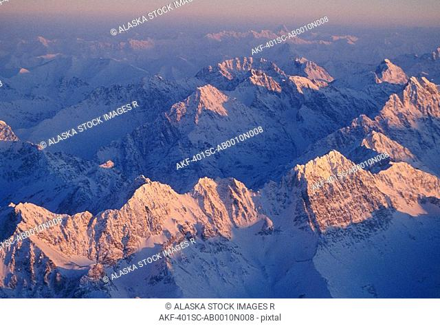 Aerial Chugach Mts Sunrise Winter SC AK