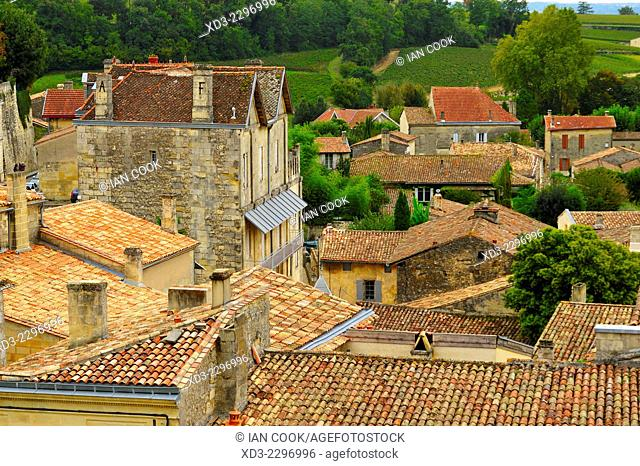 tiled rooftops, Saint Emilion, Gironde Department, Aquitaine, France
