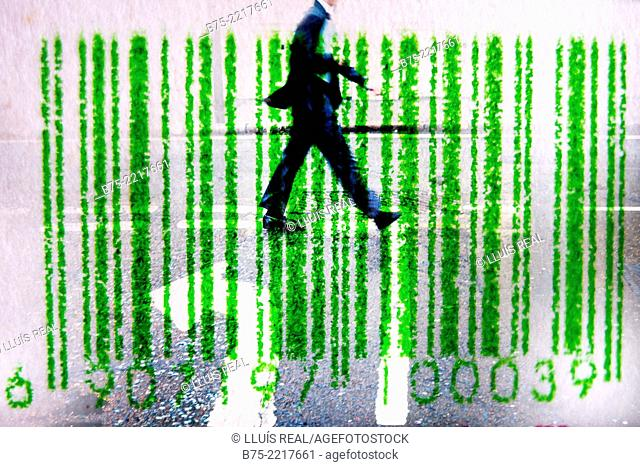 digital composition of a picture of a barcode with an unrecognizable executive walking down the street, with an arrow painted on the pavement