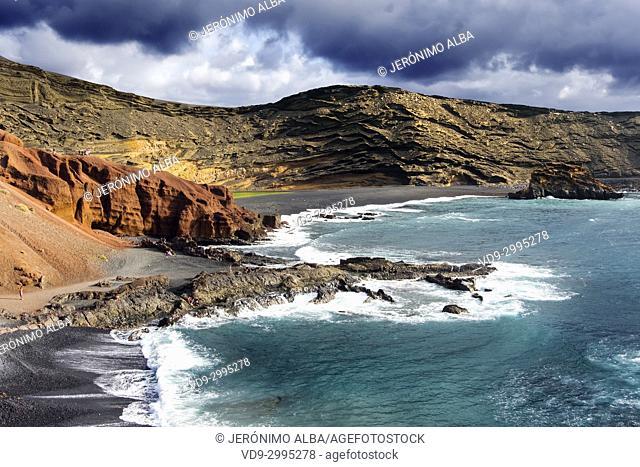 Beach, El Golfo. Lanzarote Island. Canary Islands Spain. Europe