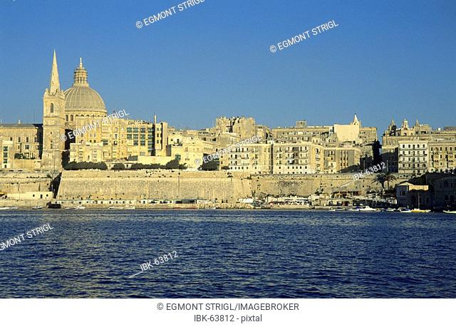 View from Manoel Island over the historic center of Valetta, Malta