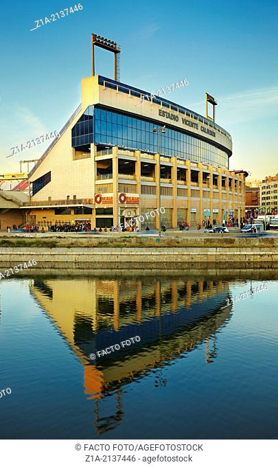 Vicente Calderon Stadium, home stadium of spanish football Club Atletico de Madrid seen from Madrid Rio park. Madrid. Spain