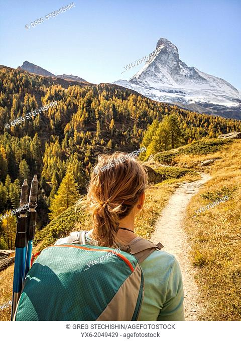 A hiker preparing to hike up the Matterhorn near Zermatt, Switzerland