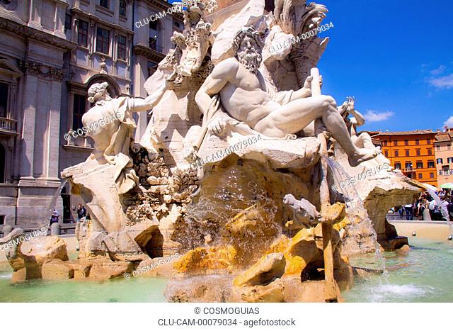 Fountain of four Rivers, Piazza Navona, Roma, Italy
