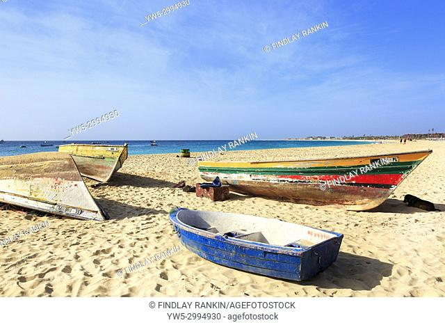 Local fishing boats on the beach at Santa Maria, Sal Island, Salinas, Cape Verde, Africa