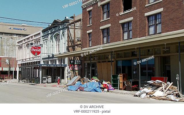 Junk and refuse sits on the street during the cleanup after Hurricane Ike in Galveston, Texas