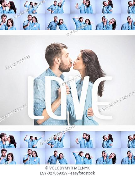 The funny man and woman communicating on a gray background. concept of love of couple. Collage