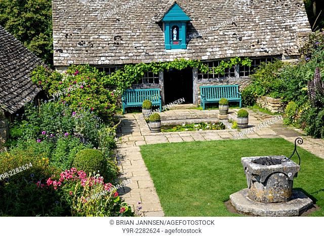 Garden courtyard at Snowshill Manor, Snowshill, The Cotswolds, Gloucestershire, England