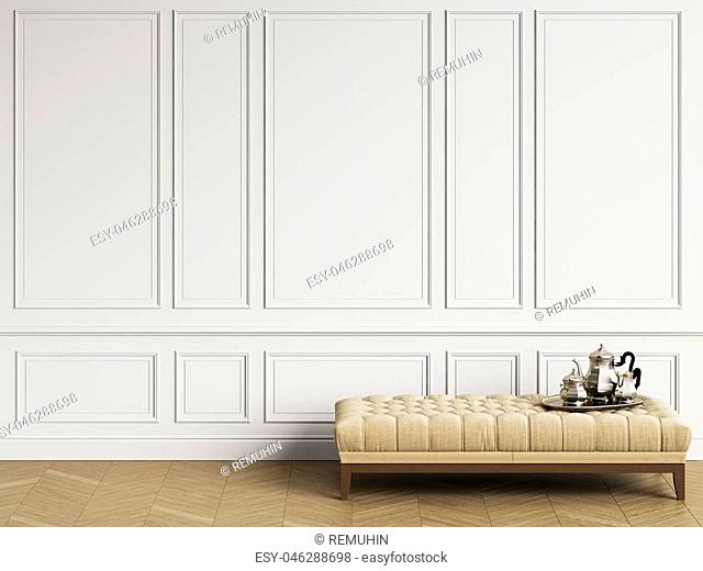 Classic bench with coffee silver set in classic interior with copy space.White walls with mouldings. Floor parquet herringbone.Digital Illustration