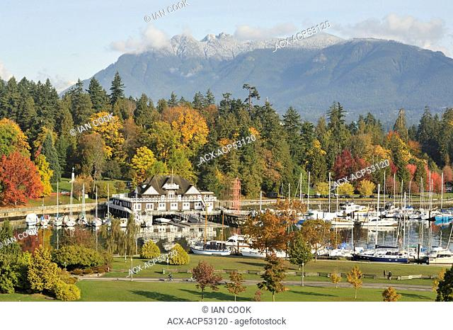 Vancouver Rowing Club, Devonian Harbour Park, Stanley Park, and North Shore Mountains in autumn, Vancouver, British Columbia, Canada