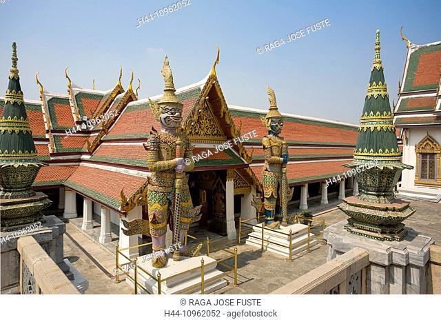 Thailand, Asia, Bangkok, architecture, colourful, detail, famous, guards, history, palace, royal, touristic, travel, unesco, Wat Phra Kaew, guard