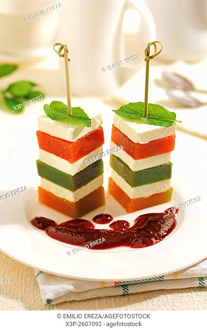 Jelly and cheese tower