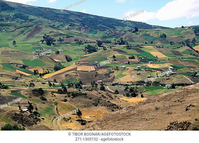 Ecuador, Southern Highlands landscape, farmland