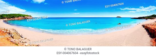 Cala Nova beach in Ibiza island panoramic