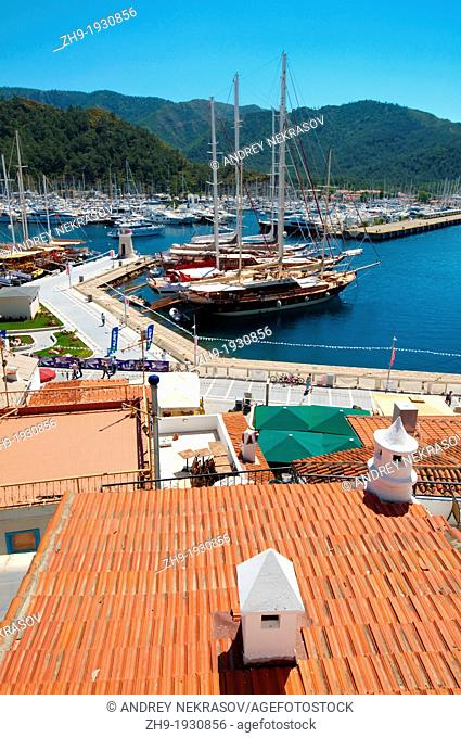 Sailing ships in the harbour, Marmaris, Mugla Province, Turkey
