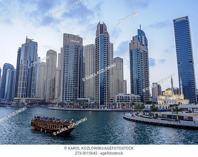 Dhow in Dubai Marina at dusk, Dubai, United Arab Emirates