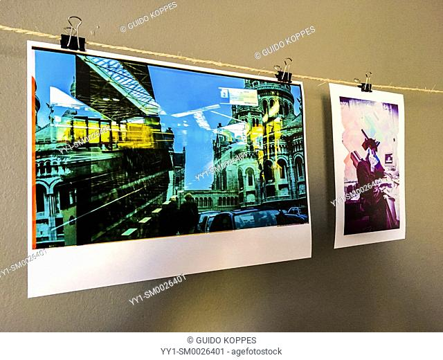 Tilburg, Netherlands. Photographic Art Work in Print waiting to be further processed by it's photographer. Images on the prints are deduced and scanned from...