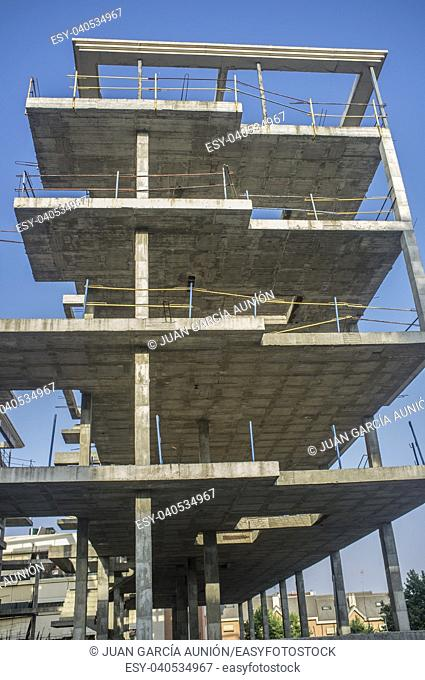 Construction site of a new apartment building. Concre structure