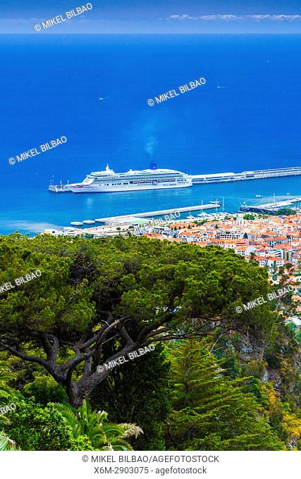Cityscape and cruise ship in the port. Funchal. Madeira, Portugal, Europe