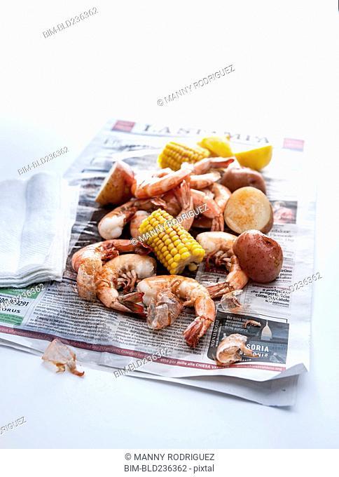 Seafood boil on newspaper