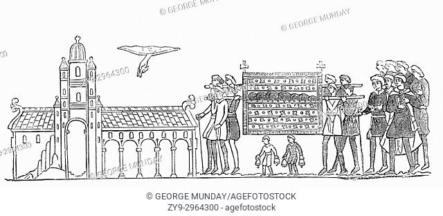 The funeral of Edward the Confessor on 5 January 1066 at Westminster Abbey, London where the Hand of God can be seen pointing at the cathedral