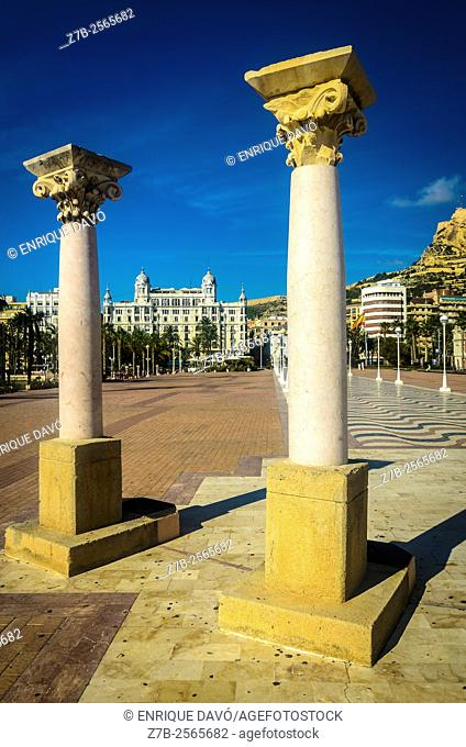 Two colums view in Alicante city, Spain