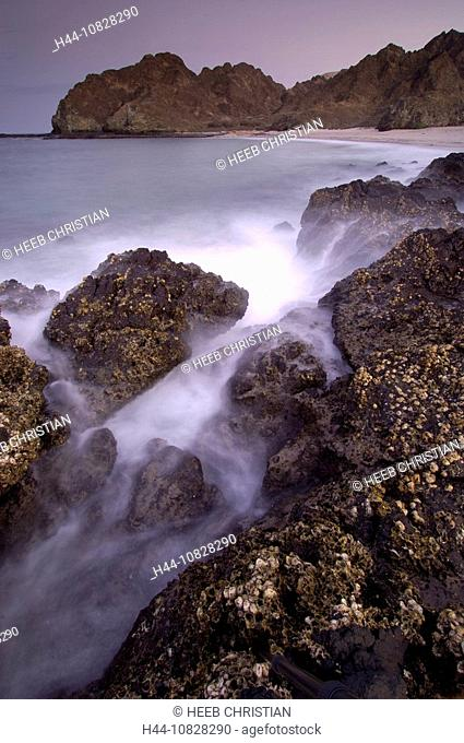 cliff coast, surf, mood, dusk, twilight, beach, seashore, rock, cliff, lake smallpox, coast, sea, Maskat, Muscat, Oman