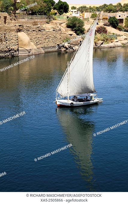 Falucca Sailing the Nile River, Aswan, Egypt