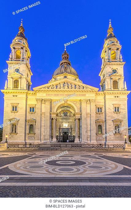 St. Stephen's Basilica illuminated at dusk, Budapest, Hungary