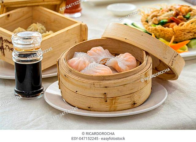 Dim Sum traditional chinese starter on white background
