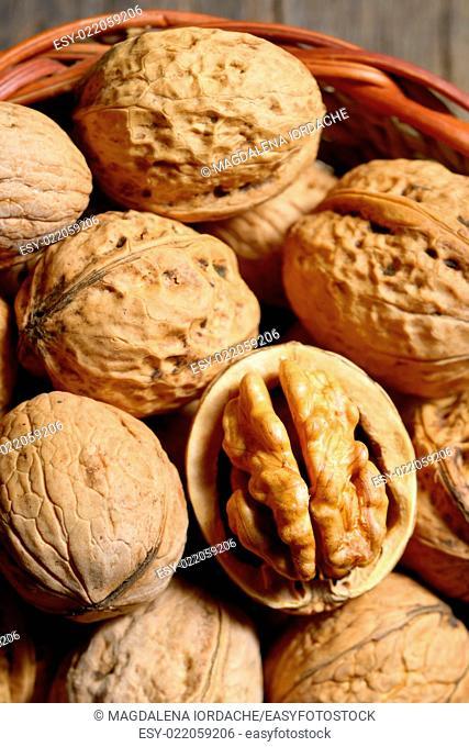 Macro dried walnuts in basket