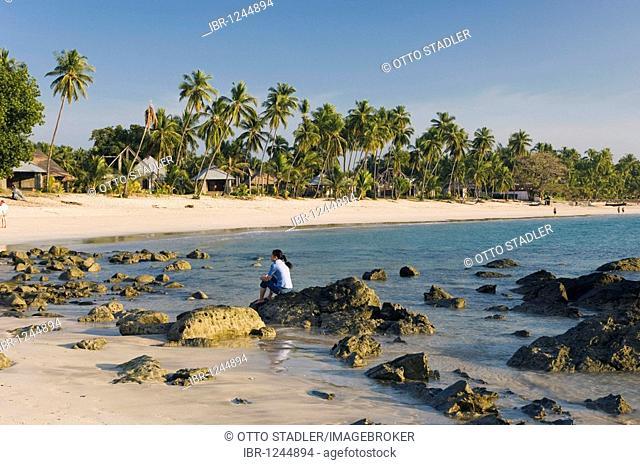 Palm beach, Ngapali Beach, Thandwe, Rakhine Coast, Bay of Bengal, Burma, Myanmar, Asia