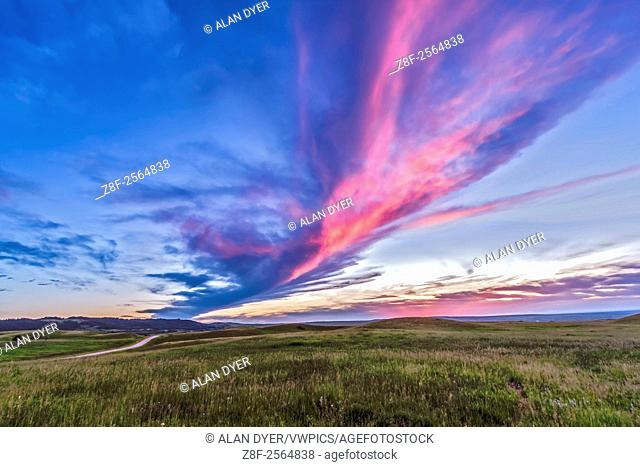 Sunset at the Reesor Ranch, on the edge of the Cypress Hills, on the Alberta-Saskatchewan border, July 4, 2014. This is a high dynamic range stack of 6...