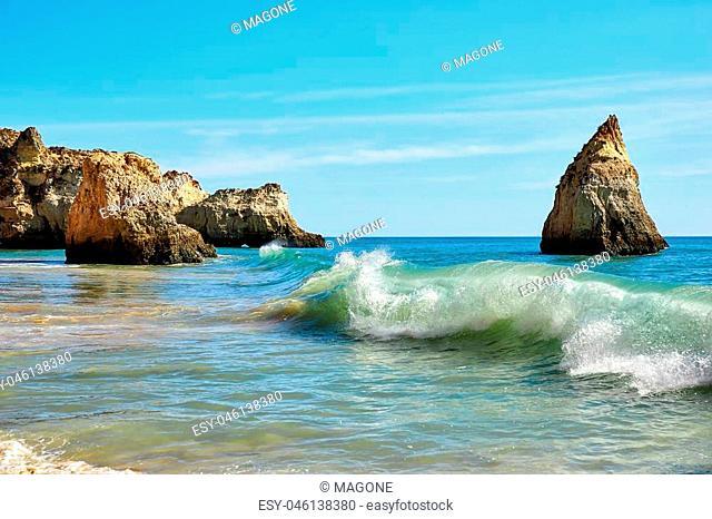 Waves of Atlantic Ocean, beach of Algarve, Portugal