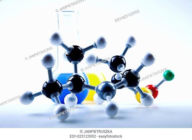 DNA molecules, Laboratory glassware, bright modern chemical concept