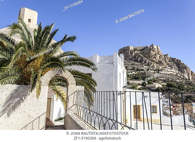 Hermitage church,ermita santa cruz. Typical neighborhood historic center, casco antiguo,barrio santa cruz. Alicante, Spain