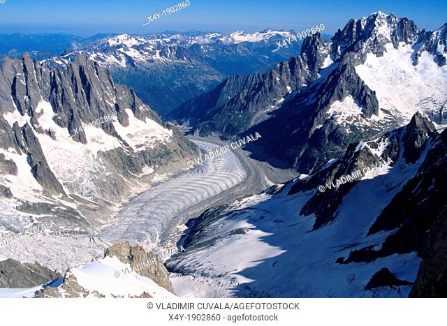 View of Mer de Glace from Dent du Geant, Mont Blanc mountain massif, Savoy Alps, France