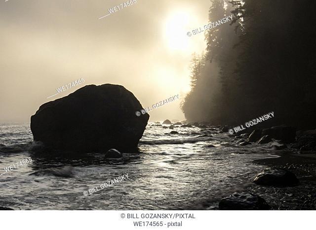 Foggy sunset at Mystic Beach - Juan De Fuca Marine Trail - Sooke, near Victoria, Vancouver Island, British Columbia, Canada