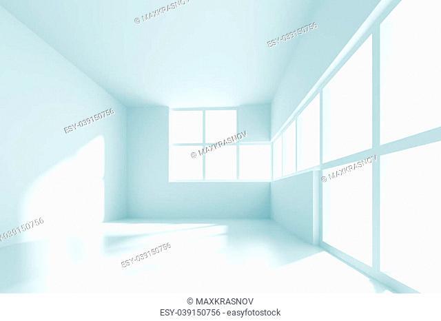 3d Illustration of White Empty Room