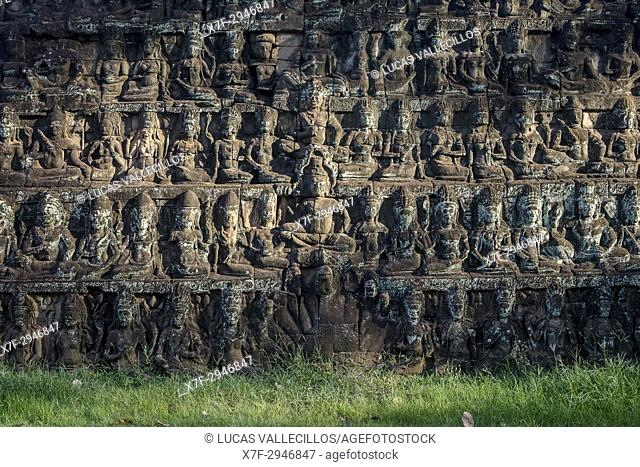 detail, Terrace of the Leper King in Angkor Thom, Siem Reap, Cambodia