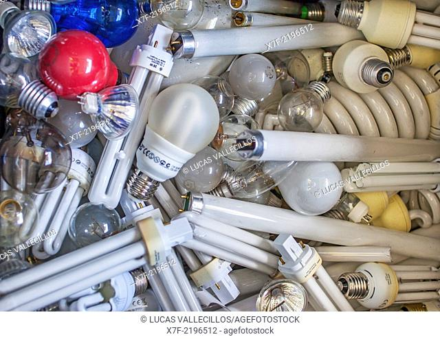lamps and fluorescents for disposal at a recycling yard, recycling center