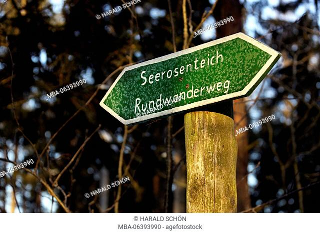 Germany, Thuringia, Gehren, sign, Thuringian forest, copy space