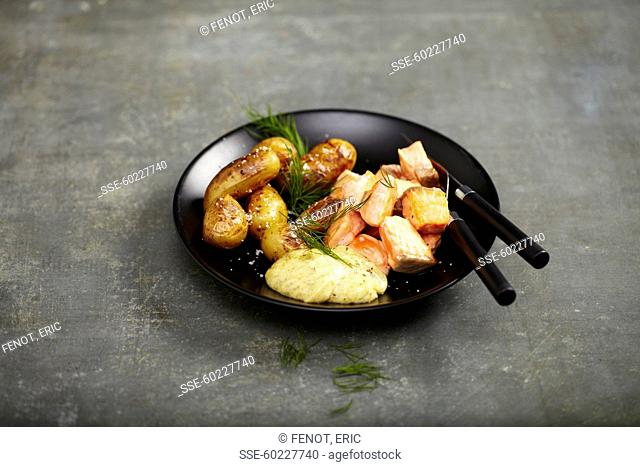 Marinated salmon,Sauteed Grenaille potatoes with mustard sauce and dill