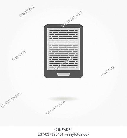 e-book reader icon with shadow. vector illustration
