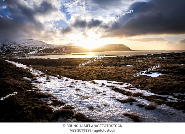 Icelandic sunset in Ólafsvík, Snæfellsnes peninsula (region of Vesturland, Iceland)
