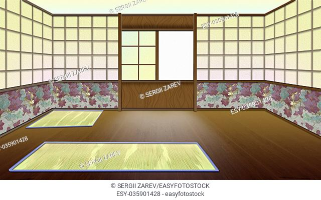 Traditional Japanese Room Interior. Digital Painting Background, Illustration in cartoon style character