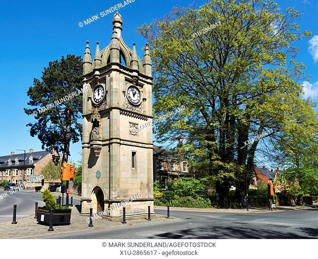 Clock Tower Built to Commemorate the Diamond Jubliee of Queen Victoria at North Street in Ripon North Yorkshire England