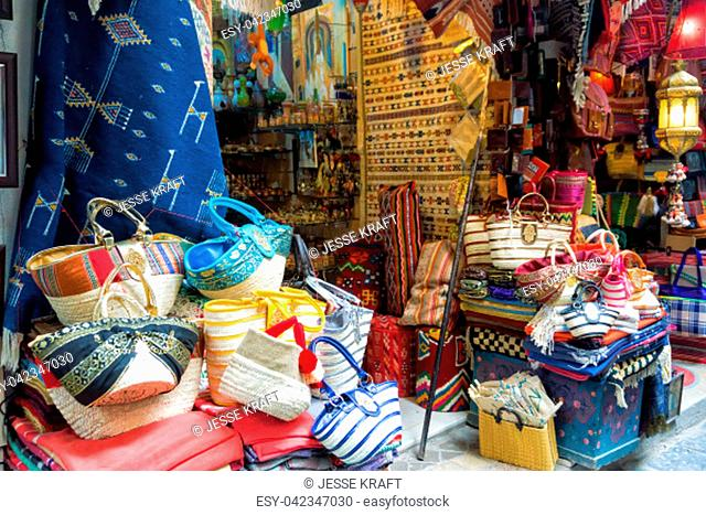 1f2485aaa7be View of beautiful and colorful bags and rugs in the Medina in Tunis