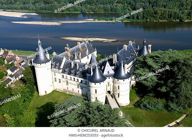 France, Loir et Cher, Loire Valley, listed as World Heritage by UNESCO, Chaumont sur Loire, the castle and the Loire river aeriel view